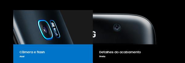 Câmera e flash Azul | Detalhes do acabamento Preto |  Botão Home Vermelho | Receiver Amarelo | Botões de volume  Verde