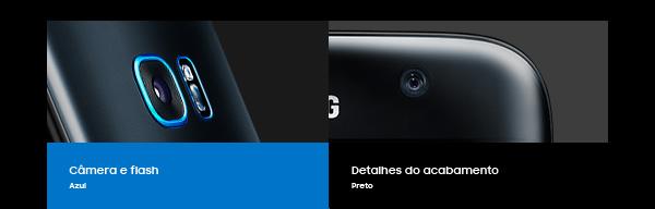 Câmera e flash Azul | Detalhes do acabamento Preto
