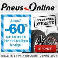 Codes promo Pneus Online FR et cashback Pneus Online FR - 2.45 % de réduction