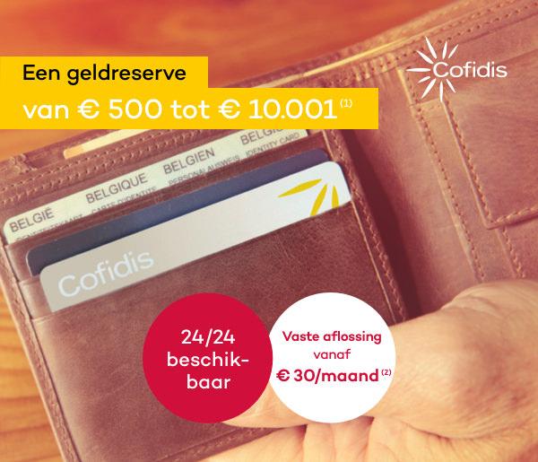 Cofidis   Een geldreserve van € 500 tot € 10.001